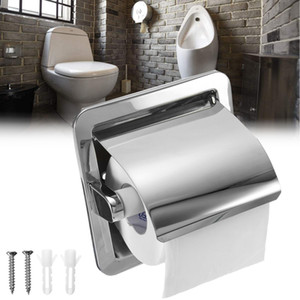 Stainless Steel Bathroom Toilet Roll Paper Holder Box Concealed Wall Mounted Recessed Wall Embedded T200425