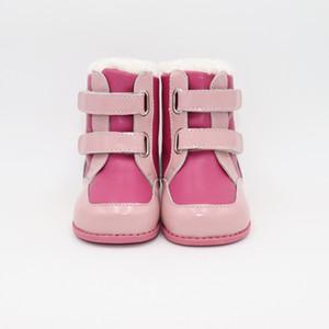 Tipsietoes 2020 neue Winter-Kinder Barfuß-Schuh-Leder Martin Stiefel Kinder-Schnee-Mädchen-Junge Rubber Fashion Pink Sneakers Y1111