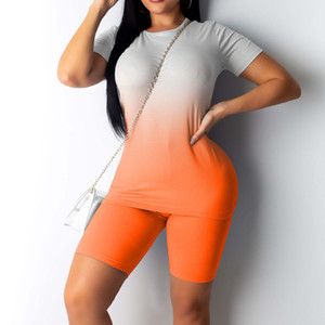 Woman Suit Women Girls Fashion Gradient Print T-shirt Short Sleeve Tee Shorts Sports Pajamas Suit Ladies Suits Femme #T2G