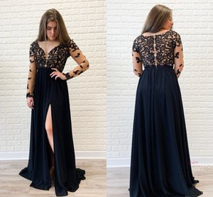 Dark Navy Plus Size Formal Dresses Evening Gowns Elegant Illusion Applique Long Sleeve Scoop See Though Back Prom Bridesmaid Dress Cheap