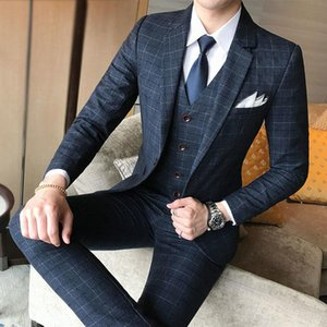 (Blazer+Pants+Vest) Men Suit 3 Piece Set Fashion Boutique Lattice Groom Wedding Dress Men's Tuxedo Men Banquet Club Dress