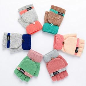 Simple Knit Flip - Flop Mittens Touch-Screen Saver Теплая шерстяная нить Открыть Mittens Lady