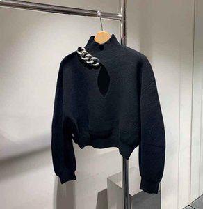Fashion Women's Tees 20AW women Knits Black Hollow Out Hoodie with Chain High Street Elements Stylist Long Sleeve Female Top size S-L