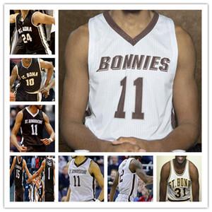 Benutzerdefinierte NCAA Basketball St. Bonaventure Bona Bonnies Jersey Kyle Lofton Jaren Holmes Dominick Welch Osun Osunniyi Jalen Adaway Vasquez 4XL