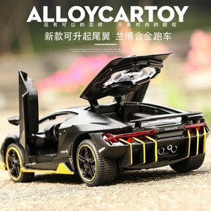 Scale 1:32 Alloy Sports Car Diecast Model Sound & Light Pull Back Cars Toy Children Birthday Hot Gift Wheel LP770 Y200428