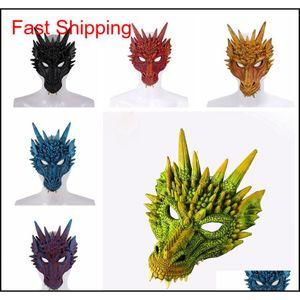 Fierce Ejderha Maskesi Dinozor Kafatası Tüm Yüz Kafa Maskeleri Festivali Dans Parti Cosplay Kostüm Cadılar Bayramı Partisi Dekorasyon TTA1891 6DWMD