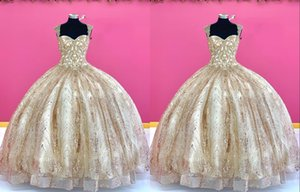 2021 Amazing Gold Quinceanera Prom dresses Ball Gown Real Photo Cap Sleeves Beaded Sequined Tulle Cheap Sweet 16 Dress Vastidos De