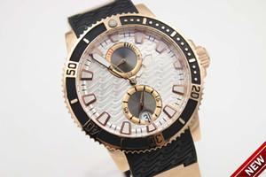 ~ 2021 Marca Top 265 -90 -3t / 91 1846 pulseira de borracha 42 milímetros Diver Series Transparent automtic Mecânica Rosa de Ouro Branco Dial Sports Watch