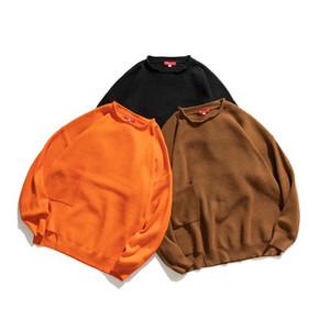 Männer Kleidung Herbst Winter Langarm Oansatz Feste Farbe Gestrickte Pullover Pullover Männliche Mode Hip Hop Lose Beiläufige Pullover
