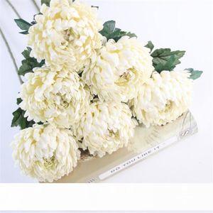 6Pcs Fake Single Stem Pineapple Chrysanthemum Simulation Round Chrysanthemums for Wedding Home Showcase Decorative Flowers CJ191213