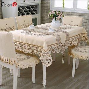 Tessuto satinato Tablecloth Rettangolo Elegante cavo ricamato floreale floreale floreale tessuto da sposa decorazione tavola da tavolo 201123