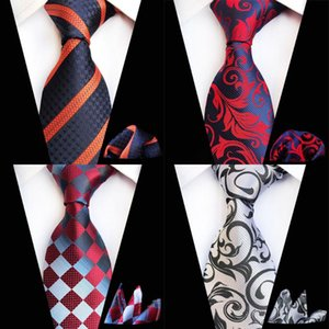 Ricnais Fashion 8cm Men's Tie Set Red Navy Silk Pocket Square Necktie Suit Business Wedding Handkerchief Neck Ties Accessories