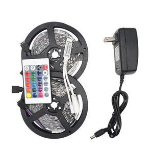 Eyoumy RGB LED Light Strip 5050 5M 10M IP20 LED LED RGB bande conduit ruban flexible mini contrôleur IR DC12V adaptateur Set