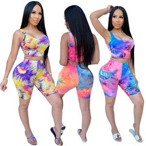 Donne Tie Dye Print 2 Piece Shorts Set Set Simical Crop Tank Top e BodyCon Breve Pants Vestito