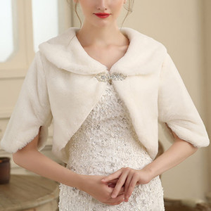 Faux Fur Shawl Wedding Wrap Formal Dress Cheongsam Married Outerwear Bride Cape White Autumn Winter Jacket