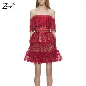 ZAWFL High Quality Women Hollow Out One Shoulder Ruffles Lace Dress Runway Self Portrait Dress1