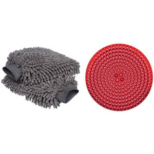3 Pcs Car Accessories: 1 Pcs 23.5Cm Car Wash Filter Red & 2 Cleaning Gloves Wash Glove
