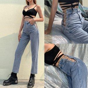 Harajuku taille haute creuse de la chaîne de chaîne design slim jeans femmes streetwear commute pantalon droit