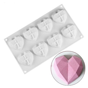 Heart Shaped Mousse 8 Cavity Mould Cakes Pastry Diamond Sponge Molds Bakeware Love Silicone Dessert Chocolate SN2282