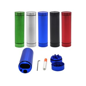 5 Colors Dugout Grinder Cylindrical Pipe Set Grinder with Storage Box Tobacco Herbs Grinder Smoking Accessories