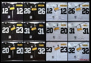 Vintage 12 Terry Bradshaw 20 Rocky Bleier 23 Mike Wagner Rod Woodson Donnie Shell Franco Harris Football Jerseys Embroidery