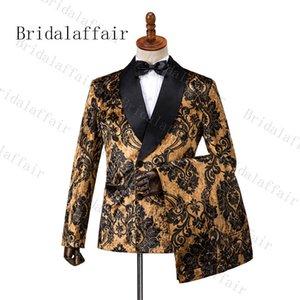 Bridalaffair Siyah Çiçek Kahverengi Kadife Erkekler Düğün Balo Elbise Suits Kruvaze Erkekler Suits Damat Parti Smokin 3 Parça Y201026