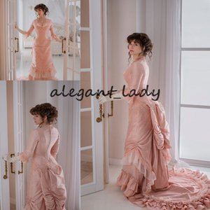 Персик Розовый Gothic Выпускные Платья с длинным рукавом 2021 шнуровке Корсет суматохи юбка шелковом викторианского вечерние платья