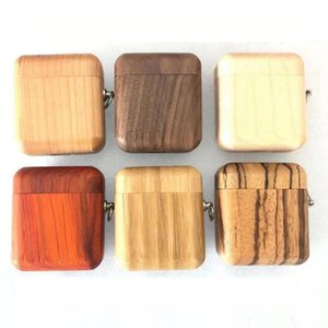 Wood Earphone Case Dust Guard Bag Shell Protective Cover Shockproof Protective Case with Hook Earphone Case