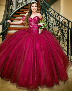Burgundy Quinceanera Dresses Ball Gown Girls Vestido 15 anos azul Off Shoulder Appliques Sequined Long Sweet 16 Prom Dress