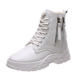 Women'S British Fan Car Lace-Up Short Boots Women'S Winter Round Toe Double Zipper Plus Cashmere Boots1