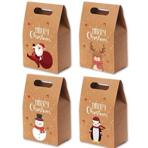 2020 Christmas Gift Bags Xmas Vintage Kraft Paper Apple Box Candy Case Party Bag Hand - wrapped Package Decorations