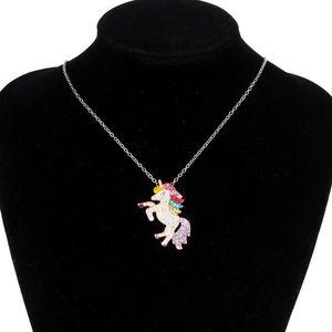 DHL Free Shipping Women Multi-colored Rhinestone Rainbow Unicorn Pendant Necklace Unicorn Necklace Kids for Best Friends
