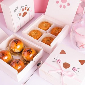 10pcs lot 14x14x5cm wedding candy Cute cat egg yolk mung bean cake box nougat cake snowflake pineapple crisp pound box