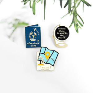 Traveller Enamel Pins Custom Map Globe Passport Brooch Lapel Shirt Bag Badge World Adventure Tour Gift Friends
