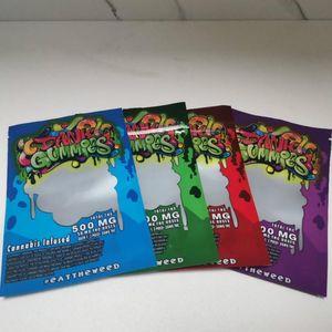 Dank Gummies Mylar Bag Edibles Retail Zip Block Imballaggio Worms 500mg Bears Cubes Gummy Gummies Edibles Packaging Bags Vape Bag