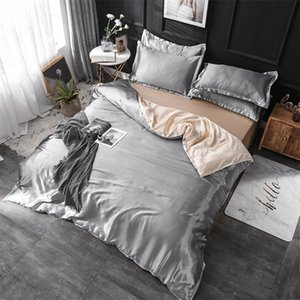 3 4 5pcs 100% Natural Silk Bedding Set With Duvet Cover Bed Sheet Pillowcase Luxury King Queen Twin Size Solid Satin Bed Linen 201210
