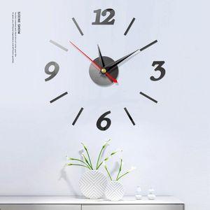 Mirror Digital Wall Clock Wall Stickers Watch 3D Living Room Bedroom Study Home Design Decoration Silent Clocks 5 Colors