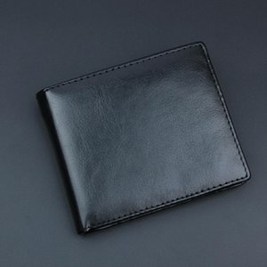 Casual Mens Wallets Leather Solid Wallet Men Leather Slim Bifold Short Purses Credit Card Holder Business Male Purse YY