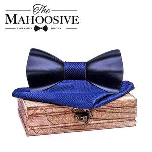 Black Mens Wood Bow tie Handkerchief Sets Marriage Groom Wooden BowTie Bowknots Wedding Party Neck Ties For Men 201028