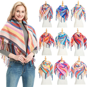 40Colors Women Plaid Scarves with Tassel Wrap 110*110 Stripe Shawl Winter Squared Neckerchief Grid Scarf Female Warm Tippet Lattice Pashmina