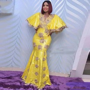Dubai Aso Ebi African Yellow mermaid evening dresses robes de mariée cheap plus size prom dresses party wear