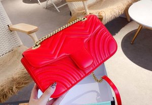 Hot Women Marmont Messenger Bag Long Chain PU Leather 26cm Designers Shoulder Bags Ancient Gold Chain Waist Handbags Totes with box