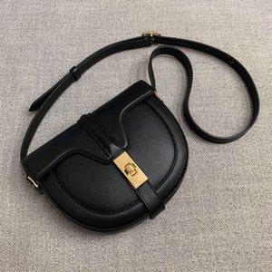 2021 Lock Genuine Design Saddle Shoulder Semi-Circular Crossb Bag Bag Special-Interest Buckle Womens New Small Square Trendy Leathe Fipec