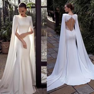 Julie Vino 2021 New Mermaid Wedding Dresses with Wrap Cloak Satin Bridal Gowns Lace Applique Buttons Back Sweep Train Vestidos De Noiva