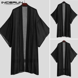 Leisure Long Sleeve Thin Open Stitch INCERUN Men Solid Color Loose Cardigan Male Fashion Long Style Trench Patchwork Coats S-5XL