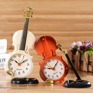 Tablo Yaratıcı Enstrüman Saat Öğrenci Keman Hediye Ev Dekorasyonu Fiddle Kuvars Çalar Saat Danışma Plastik Craft Noel Oyuncak Hediye