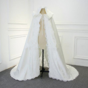 Fall Winter Wedding Dresses With Lace Velvet Cloak Bridal Hood Long Cape Shawl White Thick High Quality Wrap In Stock