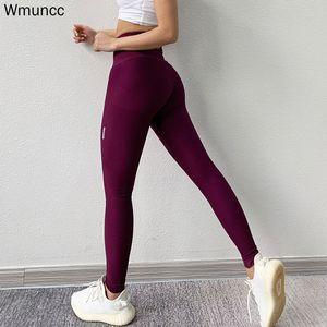 Wmuncc High Waist Sports Leggings Tummy Control Yoga Pant Fitness Seamless Tight Running Gym Trousers Women Hip Lifting 201103