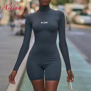 Aselnn KL ALIEN إلكتروني مطبوعة bodycon playsuit النساء قطعة واحدة بذلة قصيرة الأكمام نحيل ارتداءها السروال القصير ملابس الرياضة ارتداء outfits1