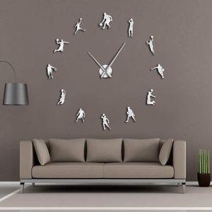 EVA Watch Basketball Players DIY Large Wall Clock Basketball Slam Dunk Kid Room Wall Decor Giant Basketball Wall Watch Gifts